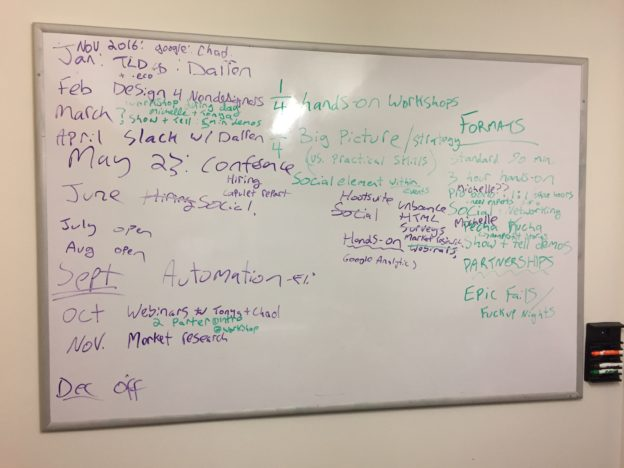 Whiteboard showing event schedule ideas