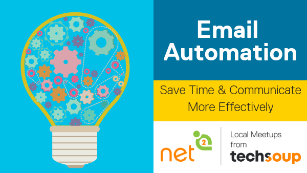 Email automation for nonprofits event cover - icon of lightbulb with gears
